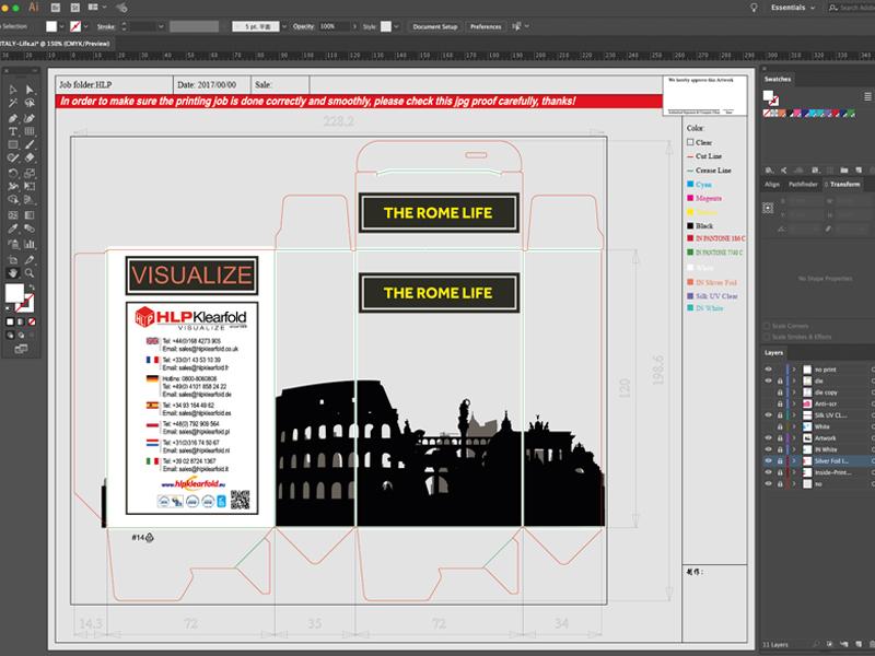 HLP Klearfold Druckvorlagen Design für Transparente Verpackungen